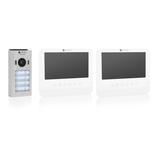 Smartwares DIC-22242 Video intercom systeem voor 4 appartementen buitenunit binnenscherm voorkant schuin uit