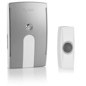 Byron BY504 Draadloze witte deurbelset met mobiele ontvanger 10.018.73 voorkant