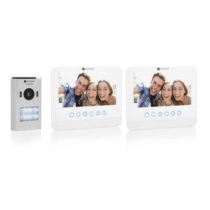 Smartwares DIC-22222 Video intercom systeem voor 2 appartementen buitenunit binnenscherm voorkant schuin