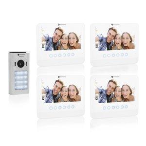 Smartwares DIC-22242 Video intercom systeem voor 4 appartementen buitenunit binnenscherm voorkant schuin