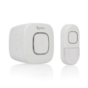 Byron DBY-24722 Draadloze deurbelset BY722 met led-verlichting en 200 meter bereik voor stopcontact voorkant schuin